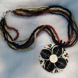Beaded Necklace w/ Painted 🌼 Shell Pendant